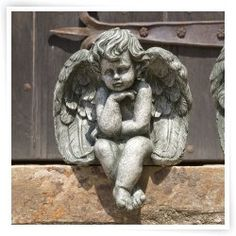 Campania International Small Seated Cherub Cast Stone Garden Statue