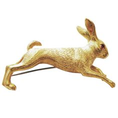 Wonderful Vintage Hermes Rabbit Pin  France 1960's  18k Rabbit Pin with Ruby Cabochon Eyes  Marked: Hermes-750-France