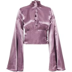 Beaufille Canes Satin Blouse ($595) ❤ liked on Polyvore featuring tops, blouses, purple, satin blouse, long neck ties, long-sleeve crop tops, purple neck tie and neck-tie