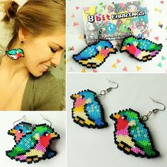 Bird earrings hama mini beads by hicelina