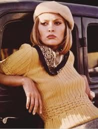 Faye Dunaway in Bonnie and Clyde. Beret, silk scarf and the best knitwear ever topped off with textbook bored expression. It's sooooo unimpeachably cool.