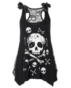Women's Skull And Crossbones Top With Lace Back - Black