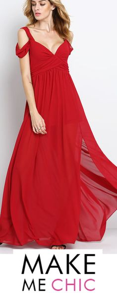 This bold off shoulder ruby red V-neck maxi is a classic gown that will stop traffic. It has a long flowing hemline with a sexy side split. Red Carpet approved this attention getting silhouette is definitely screaming Hollywood glam.