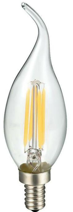 Bombilla LED de Filamentos tipo vela punta con una potencia de 4W y con tono de luz cálida (2700K) para sustituir a las clásicas bombillas incandescentes. Es regulable en intensidad de luz mediante regulador de LED o potenciómetro