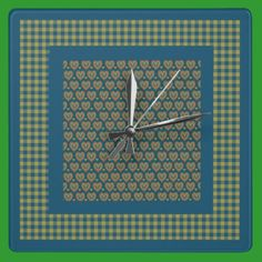 Wall Clock, Red, Green Hearts and Check Gingham