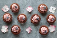 chocolate cupcakes with cashew beetroot icing