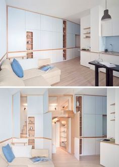 This small studio apartment has a custom designed plywood wall unit that has two sleeping areas and plenty of storage. Small Apartment Bedrooms, Apartment Interior, Apartment Design, Apartment Layout, Apartment Living, Studio Apartment Storage, Living Rooms, Small Space Design, Small Space Living