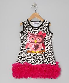 Take a look at this White Zebra Sequin Owl Ruffle Dress - Infant, Toddler & Girls on zulily today!