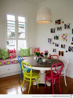 A Burst of Colors from 20 Dining Sets with Multi-Colored Chairs