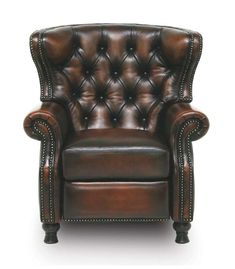 Specialty Regal Leather Recliner Western Accent Chairs - Tufted leather recliner with hand applied antiquing. Exquisitely created by skilled artisans in top grain leather. Superior quality and design for those who appreciate the best. Leather Recliner Chair, Leather Dining Chairs, Leather Sofa, Furniture Grade Plywood, Hardwood Furniture, Western Furniture, Rustic Furniture, Accent Chairs Under 100, Rustic Chair