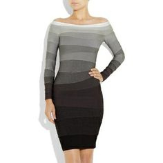 Ombre Off-The-Shoulder Bandage Dress