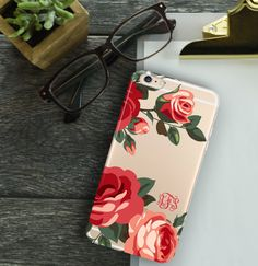 Monogrammed Iphone 6 case clear, Roses Iphone 6 plus case clear, Pretty women's fashion accessory for fall, Christmas gift for her (1588) by ToGildTheLily on Etsy https://www.etsy.com/listing/254411136/monogrammed-iphone-6-case-clear-roses