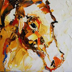 Artists Of Texas Contemporary Paintings and Art - Summer Horse 85, Palette Knife Horse Painting by Texas Artist Laurie Pace