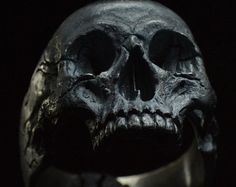 18 kt. rose gold Skull ring Mid size half jaw by Bakogiorgis