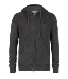 Fox Zip Up Hoodie, Men, Sweatshirts, AllSaints Spitalfields
