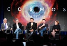 Members of the series's team, from left: Mitchell Cannold, Brannon Braga, Neil deGrasse Tyson, Seth MacFarlane and Ann Druyan present their new show in this undated photo.