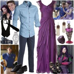 Ben and Mal by rainbowbaconcupcake on Polyvore featuring Adrianna Papell, Tissot, Lucky Brand, Vintage, Monsoon and Disney