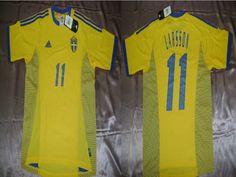 ADIDAS HENRIK LARSSON SWEDEN HOME JERSEY FIFA WORLD CUP KOREA/JAPAN 2002.