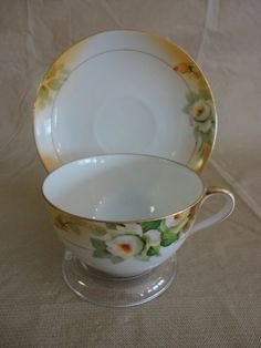 Nippon Rose Teacup and Saucer