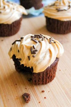 Fudge Brownie Cupcakes with Peanut Butter Frosting.