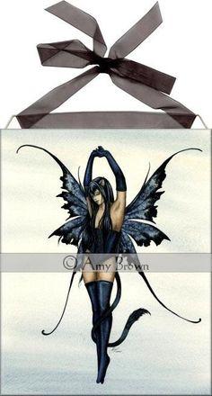 Amy Brown Black Cat Fairy Ceramic Tile Art