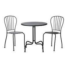 LÄCKÖ Table+2 chaises, extérieur, gris - gris - IKEA