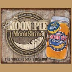 Enseigne en Métal avec Fini Rustique Whiskey Moon Pie Moonshine