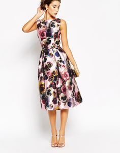 Image 4 of Chi Chi London Allover Floral Full Prom Skater Dress