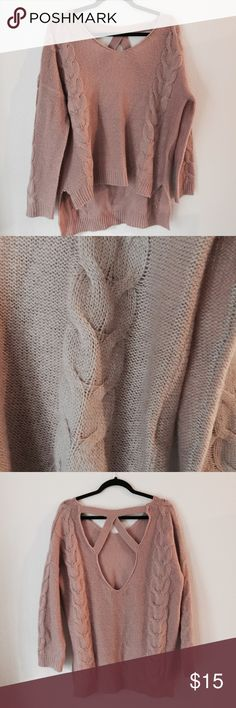 COMFY sweater Mauve colored sweater with a cut out back! Perfect condition and really comfortable! Sweaters Crew & Scoop Necks