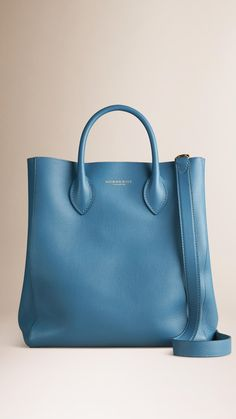 The Carryall in Bonded Leather Bright Steel Blue | Burberry