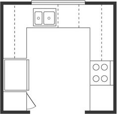 U-shaped-could put a bakers rack right at the entrance to the kitchen to use as a pantry or for dishes and such.