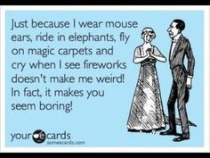 Just because I wear mouse ears, ride in elephants, fly on magic carpets and cry when I see fireworks doesn't make me weird! In fact, it makes you seem boring!