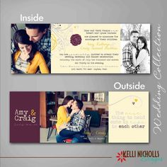 I LOVE this folded idea with photos. Vintage Off-Set Gate Fold Wedding Invitation