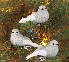 Mini Glitter Bird Clip Ornament, Set of 3!