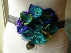 Peacock Inspired Sash Bridal Maternity by thelaughingprincess, $42.00