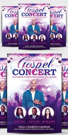 Gospel Concert and Church Flyer Template - Graphic Files Church Graphic Design, Graphic Design Flyer, Poster Design, Graphic Design Inspiration, Flyer Design, Free Flyer Templates, Business Flyer Templates, Banks Advertising, Gospel Concert