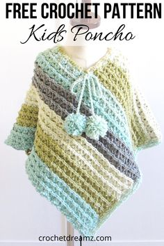 Free Child Crochet Poncho Pattern, Sea Breeze Poncho - Crochet Dreamz - - Make this free child crochet poncho pattern to complete a Mommy and Me set with my Sunset poncho crochet pattern for women. Crochet Baby Poncho, Pull Crochet, Crochet Cape, Crochet Toddler, Crochet Poncho Patterns, Crochet Girls, Crochet For Kids, Easy Crochet, Free Crochet