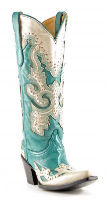 Womens Corral Studded Boots Turquoise #A1188 via @Chris Allen sutton Boots