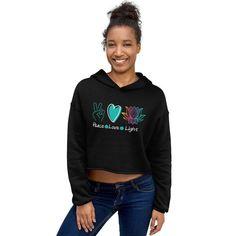 Peace Love Light Crop Hoodie, Lotus Flower Cropped Sweatshirt, Yoga Instructor Gift, Yoga Lover Sweatshirt Cropped Hoodie, Black Hoodie, Rainbow Fashion, Fashion Group, Vintage Colors, Fleece Fabric, Graphic Sweatshirt, Hoodies, Hooded Sweatshirts
