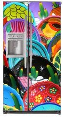 Painted Bowls Magnetic Side By Side Refrigerator Covers | Paint Magnet  Skins, Covers And Panels