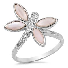 Silver CZ Ring - Dragonfly