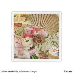 Golden Seashell Square Serving Trays