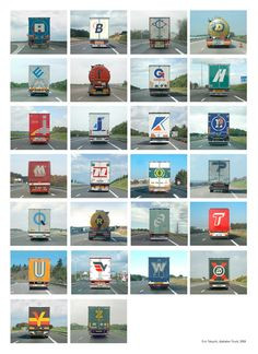 Trucker Alphabet - the kids love to find signs with all the letters of the alphabet on long car trips but this one is amazing! I will have to remember this for our next long car trip