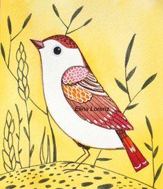 nursery wall art, bird in nature yellow RED white, wall art