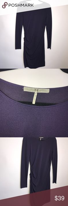 HALSTON HERITAGE Eggplant Purple Ruched Dress- M HALSTON HERITAGE Dark Eggplant Purple Side Ruched Long Sleeve Dress- Size Medium. No flaws Halston Heritage Dresses Long Sleeve