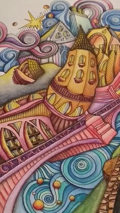 "Close up picture of the page ""Bruges"" in the adult coloring book The Magical City. Colored by Dayna Brown using inktense pencils activated with a waterbrush."