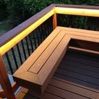 Deck with bench (composite & redwood) - Contemporary - Deck - santa barbara