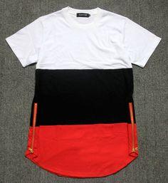 Estilo de verano para hombre camisetas blanco negro rojo patchwork lado de oro cremallera swag de hip hop streetwear camisetas tees extendida en Camisetas de Ropa y Accesorios en AliExpress.com | Alibaba Group
