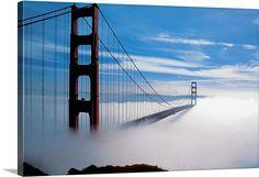 The Golden Gate Bridge in fog in San Francisco, California, USA