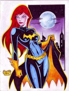 Batgirl Unmasked 2 - Barbara Gordon, in ole davey's Neal Adams - The Kiss - Batman and Talia Comic Art Gallery Room